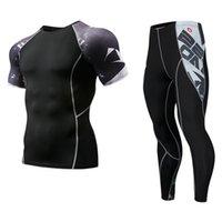 erkekler sıkı egzersiz giysileri toptan satış-Hareket Erkekler Sıkıştırma Koşu koşu Takım Elbise Giysileri Spor Set Uzun t gömlek Ve Pantolon Gym Fitness egzersiz Tayt giysi
