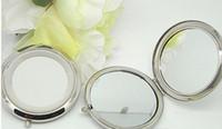 miroirs de poche vierges achat en gros de-Nouveau miroir de poche Argent miroirs compacts blancs Idéal pour le maquillage cosmétique bricolage miroir cadeau de fête de mariage DHL freeshippping