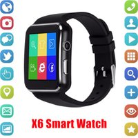 Wholesale hot sale gps resale online - Hot Sale New Smart watch Curved Screen X6 Smart watch bracelet Phone with SIM TF Card Slot with Camera for Samsung android smartwatch