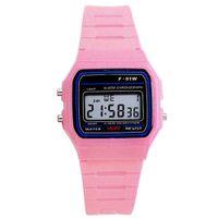 impermeable led led rosa relojes al por mayor-LinTimes estudiantes electrónico LED plástico digital deportivo reloj de pulsera reloj impermeable - rosa