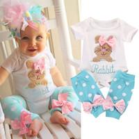 leggings boutique chicas al por mayor-Easter Baby Girls Romper trajes de conejo Infant Bunny Romper + Dot Bow Leggings sets Boutique de moda de verano para niños Conjuntos de ropa