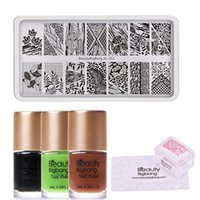 Wholesale nail pattern stamp for sale - Group buy BeautyBigBang Set Nail Stamping Starter Leaf Pattern Nail Stamping Plate with Clear Jelly Stamper Polishes
