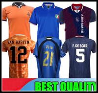 camiseta copa mundial de fútbol italia al por mayor-1988 Países Bajos Retro Soccer Jersey Van Basten Holland 97 98 Gullit 1990 2006 ITALIA Copa del mundo Pirlo 94 95 Ajax RIJKAARD camiseta de fútbol