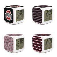 Wholesale usa clocks resale online - Soft lighting Alarm Clock Extra Loud Adjustable Office Suitable Ohio State Buckeyes football logo USA flag red black stripe Tie dyeing