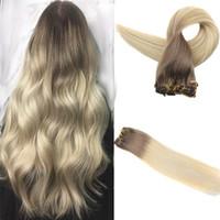 18 613 clip haar mensch groihandel-Brazilian Ombre Clip In Haar # 6 Mittelbraun bis 613 Blond Real Human Straight Clip In Haarverlängerung Dickes Ende 7pcs 120g