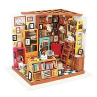 исследование куклы оптовых-Дети взрослый миниатюрный деревянный Кукольный дом DG102 DIY Сэм кабинет с мебелью модель здания комплекты кукольный домик игрушки