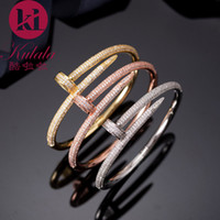 bracelete de prego da moda venda por atacado-Europa América marca de moda Jóias Lady Latão Duplo Full Circle Diamante Pegs Ouro 18K Nails Pulseiras Bangle (1pcs) 3 cores