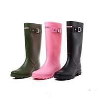 туфли на высоком каблуке фетиш оптовых-Зима RainBoots женщины фетиш высокие каблуки сапоги свадебные колено-высокая скольжения на водонепроницаемый низкий твердые Mujer дождь сапоги