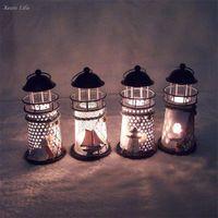 Wholesale nautical lights for sale - Group buy ISHOWTIENDA CM Lighthouse Iron Candle Holder Nautical Beach Anchor Decoration Wedding Christmas Lighting Decor