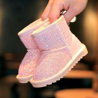 yeni kürk botları toptan satış-2018 Kış Yeni Çocuk Kar Botları Büyük Çocuklar Deri Çizmeler Sıcak Ayakkabı Ile Kürk Prenses bebek Kız Toddler Ayak Bileği Çizmeler