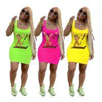 Wholesale dresses clown women online – ideas Clown Print bodycon dresses designer woman summer dresses Spoof Brand Vest Mini Skirt Luxury Designer Party Slim Skinny Dress C71108