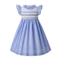 hellblaues ärmelloses hochzeitskleid großhandel-Pettigirl Light Blue Smock Kleid Streifen Blume Outfits Smocked Brautkleider Baby Mädchen Smocked Weihnachten Kleidung G-DMGD204-A289B