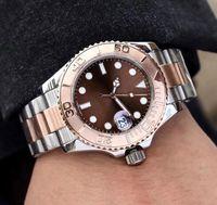 relojes análogos automáticos para hombre al por mayor-Relojes automáticos para hombre Reloj de pulsera con movimiento automático de 40 mm de forma redonda reloj de acero inoxidable analógico negro fecha grande reloj