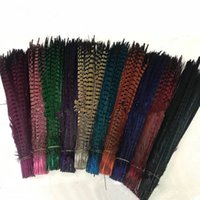 Wholesale purple yellow hair resale online - Custom colors pheasant tail feathers jewelry craft hat mask feather hair extention inch cm EEA294