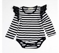 786fac4c4230 Baby Girls Flying Sleeves Lace Rompers Infant Romper Solid Color Stripe Lace  Children Jumpsuits Newborn Clothes Kids Clothing IIA292