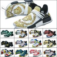 ingrosso esempio uomini calzature-2019 New NMDS Human Race Scarpe da corsa da donna per uomo Pharrell Williams Sample Yellow Core Scarpe da donna di design sportivo nero Sneakers donna 36-47