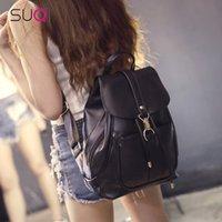 мягкие сумки для выходных оптовых-Женская мода Черный мягкий кожаный рюкзак корейский Weekend дорожная сумка Студент сумка для подростков девушка Bagpack