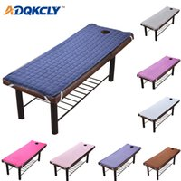 Wholesale navy bedding for sale - Group buy Solid Plaid Beauty Massage Table Bed Sheet Skin Friendly Material Massage Sheet SPA Treatment Bed Cover with Round Breath Hole