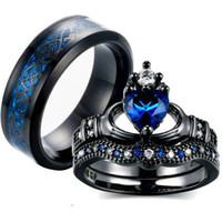 paare blaue edelstahlringe großhandel-Charm Paar Ring 316L Edelstahl Herrenring Schwarzgold gefüllt 6MM Blue Sapphire Damen Ehering Sets