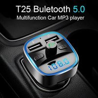 Wholesale mp3 player for motorcycles for sale - Group buy T25 Wireless Bluetooth FM audio music Transmitter LCD MP3 Player double USB Charger for iphone motorcycle bluetooth kit with USB TF playback