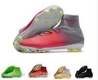 tamaño niños fútbol al por mayor-Nuevas botas de fútbol Cr7 Tamaño 35-45 Mercurial Superfly V Ag Fg Zapatos de fútbol Hombres Mujeres Niños Fútbol al aire libre Tacos