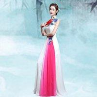 vestido de casamento qipao branco venda por atacado-Branco Cheongsam Mulheres Vestido Tradicional Sexy Casamento Qipao Bordado Vestidos Orientais Chineses Vestidos Formales Longo QiPao