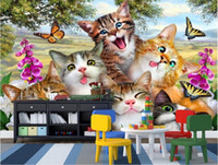 Wholesale cat wallpaper for walls resale online - WDBH d wallpaper custom photo Cute cartoon meadow with a group of cats Children s Room home decor d wall mural wallpaper for walls d