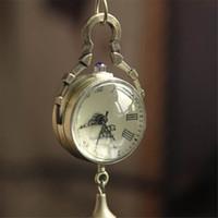 relógio de bolso de vidro da bola venda por atacado-Venda Por Atacado Hot Marketing Retro Vintage Bronze Quartz Bola Relógio De Bolso De Vidro Colar De Corrente Steampunk Jun 1