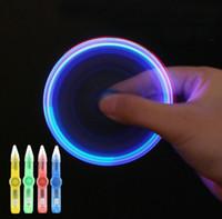 flash de giro al por mayor-obsequios plástico barato Mini colorido flash LED Gyro girada luz de la pluma Creative Multi hijos función de la mano del LED juguetes spinner Fidget pluma