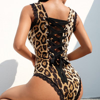 ingrosso biancheria intima nodo arco-Le donne del merletto del leopardo calzini della biancheria intima della biancheria intima del nodo della fasciatura dell'abbigliamento della tuta scherza le tute di un pezzo