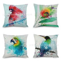 Wholesale pillows blue chinese print resale online - Birds In Traditional Chinese Style Flax Embrace Pillow Case Imitate Mabaozhen Automobile Sofa Back Cushion Cushion Modern Backrest Pillow