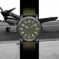 relógios verdes do exército venda por atacado-New montre de luxe 1884 piloto 8 mecânico automático mens movimento relógios de grife homens cinta de nylon verde do exército relógio de pulso masculino relogio