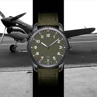 relojes verde del ejército al por mayor-Nueva Montre de luxe 1884 8 piloto automático mecánico diseñador para hombre relojes del movimiento de los hombres del ejército correa de nylon verde reloj masculino del relogio