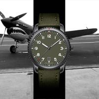 ordu yeşil saat toptan satış-Yeni montre de luxe 1884 Pilot 8 otomatik mekanik hareketi erkek tasarımcı asker yeşili naylon kayış erkekleri saatler kol saati relogio masculino