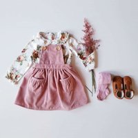 Wholesale baby girl corduroy dress resale online - Princess Toddler Kids Baby Girl Clothes Sets Long Sleeve Flowers Shirts Corduroy Bibs Dress Autumn Baby Girl Outfits Y