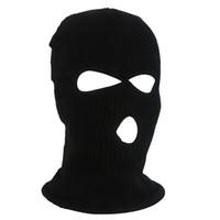 ingrosso cappuccio per il viso completo di sci-Esercito Tattico Inverno Caldo Sci Ciclismo 3 fori Balaclava Hood Cap maschera a pieno facciale