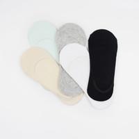pamuk şekeri pc toptan satış-10 Adet = 5 Pairs Yeni Yaz Kadın Çorap Şeker Renk Sığ Ağız Kadın Görünmez Hiçbir Göster Tekne Çorap Kadın pamuk Terlik Çorap