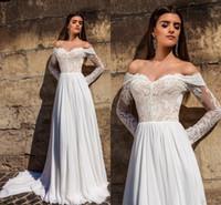Wholesale off white long lace dress resale online - Vintage Lace Appliqued A line Wedding Dress Cheap Off Shoulder Long Sleeves Beach Bohemian Boho Bridal Gown Custom Made