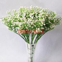 artificial flowers arrangements großhandel-weiße Gypsophila künstliche Blumen gefälschte Blumen Brautsträuße sternenklare Blumenschmuck nach Hause Hochzeitsdekoration Blumen billig