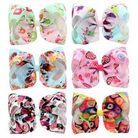 Wholesale cartoon style hair clips for sale - Group buy 18 Styles inch Baby Cartoon printed bowknot barrettes Double rainbow gradien color hair clip Children Headwear Kids Hairpins Accessory M672