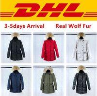 s ropa exterior al por mayor-Prendas de vestir exteriores real Lobo invierno de la piel abrigos de diseño por la chaqueta de calidad superior Canadá TRILLIUM PARKA FUSION FIT para mujer XS-2XL # 07