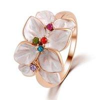 farbe pops ring großhandel-Pop-Dur Mode Fashion4U99 Schöne Frauen Accessoires süße Goldfarbe Beige Opal-Blumen-Ring Vantage Damen Schmuck
