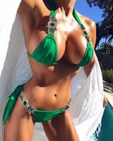 bikini d'été en cristal achat en gros de-Coudre À La Main Cristal De Maillot De Bain Brillance Push Up Bikini Strass Maillots De Bain Diamant Femmes Dos Nu Maillot De Bain 2018 Eté Plage Wear