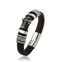 Wholesale leather bracelets for sale - Group buy Cross Bracelet Classical Multilayer Handmade Chain Weaved L Stainless Steel Bracelets Magnet Clasp Wristband Men Leather Bracelet