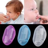 baby zähne gummi großhandel-Kinder Baby Finger Zahnbürste Silikon Zahnbürste + Box Kleinkind Säuglingszähne Klar Weiche Silikon Finger Zahnbürste Zähne Gummi