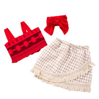 Wholesale abstract skirt for sale - Group buy Short Skirt Suit Sling Tassel Twopiece Suit Red Sleeveless Abstract Pattern Belt Plaid Skirt Elastic Waist With Lace