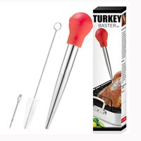 Wholesale chicken seasoning resale online - 304 Stainless Steel Seasoning Pump Turkey Baster Set Chicken Meat Bbq Food Flavour Baster Syringe Tube Pipe Herb Spice Tools