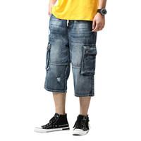 süngerimsi kot pantolon toptan satış-MORUANCEL Erkekler Baggy Kısa Kot Ile Çok Cepler Ripped Sıkıntılı Denim Şort Erkek Gevşek Fit Artı Boyutu S-4XL Için Delikli
