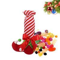ingrosso decorazione di natale di bambù-New Christmas Ornament Cute Santa Stocking Xmas Trees Decor Festa di nozze Elf Candy Wine Bags Xmas Gift Elf Socks