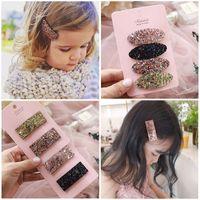 kore kızı toptan satış-Yeni Kız Saç Klipler Moda Kore glisten bebek tokalarım pullu Çocuk Tokalar bebek kız saç aksesuarları Tasarımcı çocuklar firkete A1864